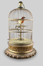 Large antique single singing bird-in-cage, by Phallibois